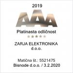 Zarja Elektronika d.o.o. - Platinasta odličnost 2019